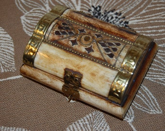 Carved Bone and Brass Trinket Box India Carved Bone Jewelry Dresser Box Carved Bone with Brass Accents