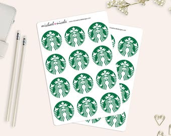 Starbucks Coffee Stickers, 1.5 inches Matte or Glossy Stickers - 12 Stickers - Perfect for Planner and Calendars | Item MN-065