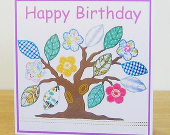 Tree Birthday Card, Textile Art Card, Recycled Card, Birthday Card For Her