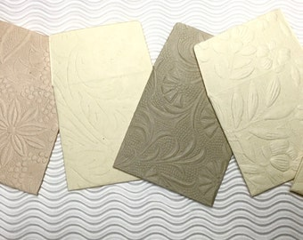 12 teeny tiny envelopes embossed neutrals handmade paper miniature note set square stationery party favors weddings guest book table numbers