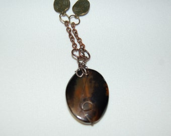 Agate Pendant Gemstone Necklace with Sand Stone Gemstome Beads Healing Stone Jewelry Grounding Stones Soothing