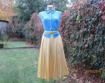Pleated Skirt / Pleated Skirts / Skirt Vintage / Skirt Size EUR 42 X UK14 / Yellow Pleated Skirt / Elastic Waist / Long Pleated Skirt