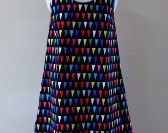 Japanese Cotton and Linen Fabric,Pennant Pattern,Sleeveless Dress, One-piece.