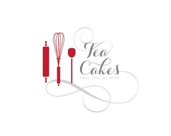 Kitchen Logo Design, customizable Pre-made OOAK modern logo design -  red, grey