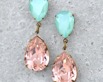 Blush Pink Mint Green Earrings Swarovski Crystal Rhinestone Dangles French Rose Pink Vintage Wedding Duchess Hourglass Dangles Clip on Bride