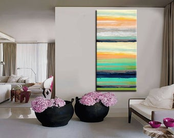 Abstrct Painting 48''x24''x1.5'' HUGE Original DEEP Artist Canvas  Textured Palette Knife Painting,   Ready to Hang