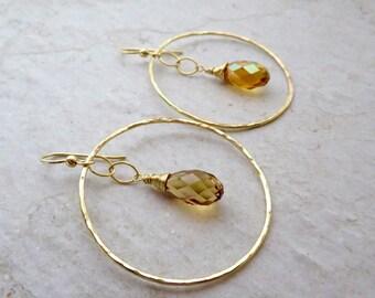 Gold Hoop Swarovski Crystal Earrings, Golden Topaz, Hammered Hoops, Sparkling Fancy Jewelry, Elegant Fashion, Gift Idea, Handmade Maui