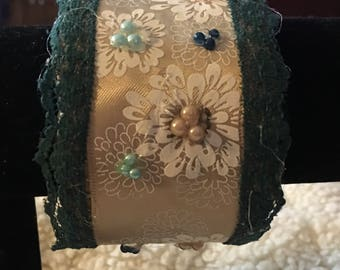 Cuff bracelet, cream and teal, creamy ribbon with floral pattern and bead accents  boho chic, shabby chic, feminine, elegant
