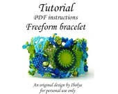 SALE PDF tutorial, Beading pattern tutorial instructions, Freeform beaded cuff bracelet tutorial, digital download