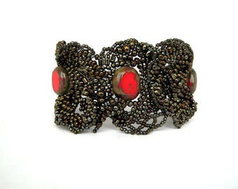 Brown cuff bracelet, Gift for women, Gift for her, Brown and red, Seed bead bracelet, Freeform peyote Handcrafted jewelry
