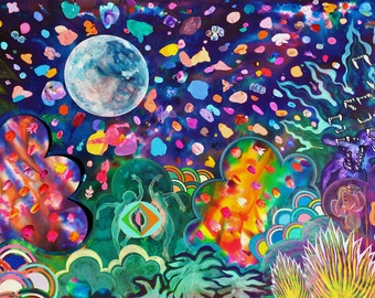 Forbidden Fruit Print (Lush Psychedelic Full Moon Jungle Landscape Painting with Dancing Goddesses, Serpents and Mixed Media Collage)