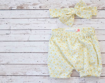 Baby and Toddler Bloomers Shorts Diaper Cover and Matching Headband Set in Yellow Calico Floral
