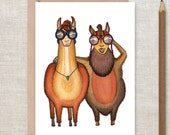 LLAMA / ALPACA Private Detectives  - Greeting Card  -private detective, bird watchers, best friend, thank you card, Birthday Card,