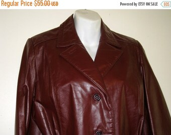 Etienne Aigner 1970s Vintage Burgundy Leather Jacket / Sz. 12 - Excellent