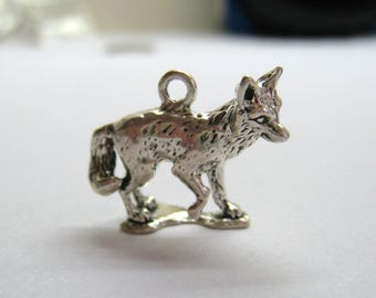 Detailed Fox Or Coyote Charm, Authentic RIO GRANDE Sterling 3-D Pendant / 3.6 Grams, Free US Shipping