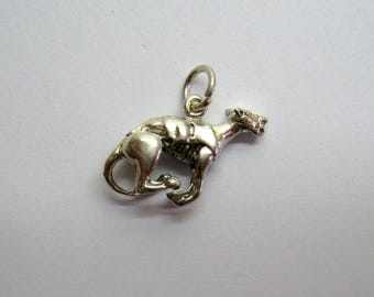 Vintage Greyhound Dog Racing Charm, Number 1 Whippet Sterling Silver 3-D Pendant / 4.0 Grams, Free US Shipping