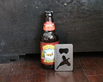 FREE SHIPPING Metal Bottle Opener with pheasant Credit Card Size