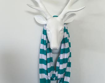 Infinity Scarf - Teal & White Stripe - Cotton Jersey Knit