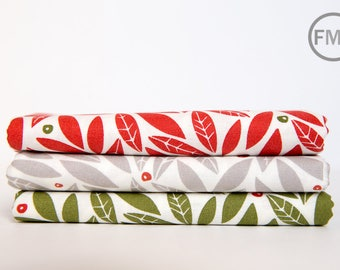 Half Yard Bundle Merrily Winter Holly, 3 Pieces, Gingiber, 100% Cotton, Moda Fabrics, 48212