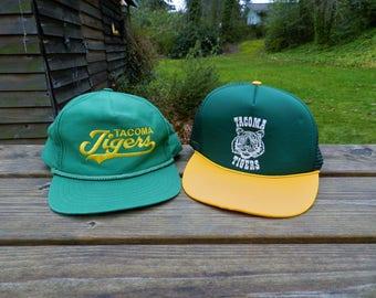 vintage Tacoma Tigers Snap back lot 2 baseball caps mesh trucker script 80s minor leagues Oakland A's Canseco Mcguire northwest Rainiers