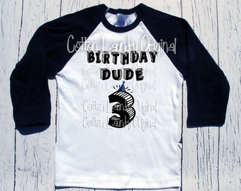 Birthday Dude hipster shirt baseball style, tee shirt, birthday tee, first birthday, second birthday, third birthday and beyond
