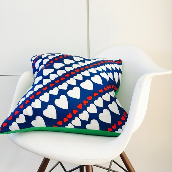 "Red White Blue Heart Pillow Cover 20""x20"" Square Cushion Pillow Upcycled Vintage Scarf American Decor Green Polyester"
