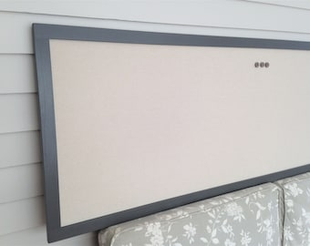 Extra Long Burlap Bulletin Board - MAGNETIC Organizer Gray and Taupe Neutral 24 x 72 in Narrow Magnet Board Fabric and Modern Hardwood Frame