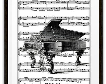 Antique Grand Piano Illustration Music Art Print, Home & Living, Home Decor, Pianist, Gift Ideas, Piano Player, Orchestra, Band, Dorm Room