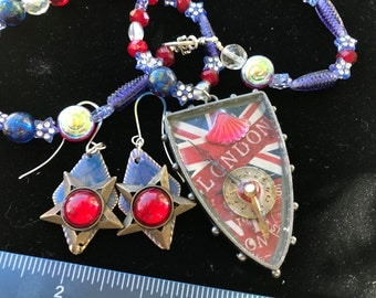 Custom Resin LONDON Time Shield pendent.Brass and Retro Star earrings .Repurposed Vintage glass & Crystal Beaded necklace