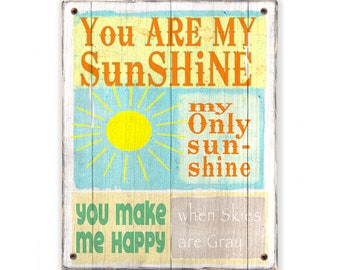 You Are My Sunshine - Rustic weathered wood sign - Rustic distressed home decor - Childs room decor - Nursery decor -