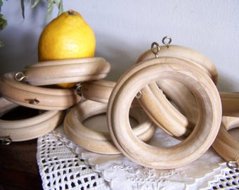 Vintage LARGE Oversize Wood Curtain Rings Set 12 , 1980's