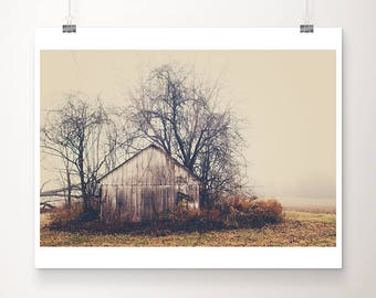 abandoned barn photograph rural decay photograph midwest photograph Illinois photograph midwest decor barn print fog photograph