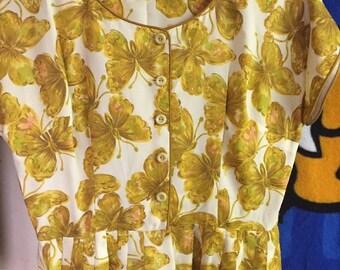 1950s 1960s DRESS butterfly golden midi  linen tank realstic print painterly vintage // Size: S / M / L