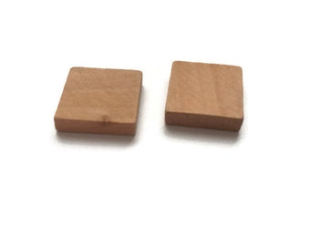 5 Wooden Square Tiles, Natural Wood Squares, Unfinished Wooden Square Cutout  W 70 059