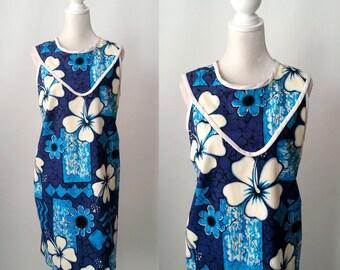 Vintage Dress, Vintage Blue Dress, 70s Hawaiian Dress, Vintage Hawaiian Dress, 70s Summer Dress, 70s Floral Vintage Dress, Large Size Dress