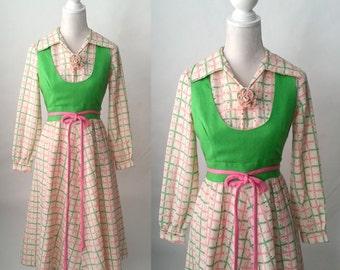 Vintage Dress, 1960s Dress, Vintage Pink Dress, Vintage Green Dress, Vintage Hippie Dress, Vintage Mod Dress, Mod 60s Dress, Retro 60s Dress