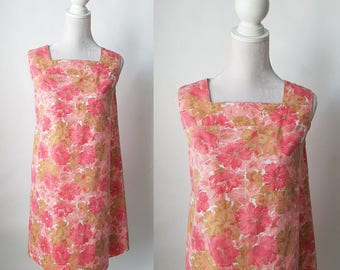 Vintage 1960s Pink Floral Cotton Dress, Summer Dress, Maternity Dress, 60s Retro Dress, 60s Pink Dress, 60s Floral Dress, Mod 60s Dress