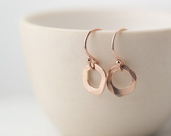 Tiny Freeform Rose Gold Filled Earrings, Valentine's Day Gift for Her, Modern Minimal Earrings, Minimalist Jewelry, Gift for Women