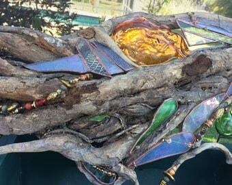 Driftwood Textured Copper Foiled Stained Glass Mother Nature Sculpture