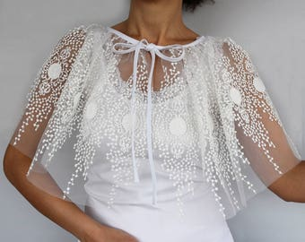 Tulle Bridal Cape, Lace Embroidered Tulle Capelet, Shoulder Wrap, Retro Style Weddings Dress Coverup, Romantic Bolero Shrug Bridal Fashion