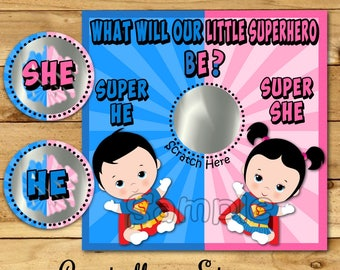 Superhero Gender Reveal scratch off cards Baby Pregnancy announcement card Super Baby gender reveal game Boy Girl he or she favor 12 Printed