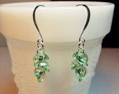 25% OFF SALE thru Mon. Swarovski Light Green Crystal Cluster Earrings, Christmas Gift, Valentines Mothers Day, Bridesmaid Mom Sister Girlfri
