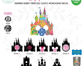 """Lilly Pulitzer Inspired Disney Inspired Princess Castle Monogram Vinyl Decal 3""""-6"""" Two Colors Yeti Castle Decal"""