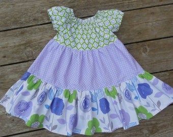 SALE - Girl's Toddlers Purple and Green Twirly Tiered Peasant Dress - Size 2T