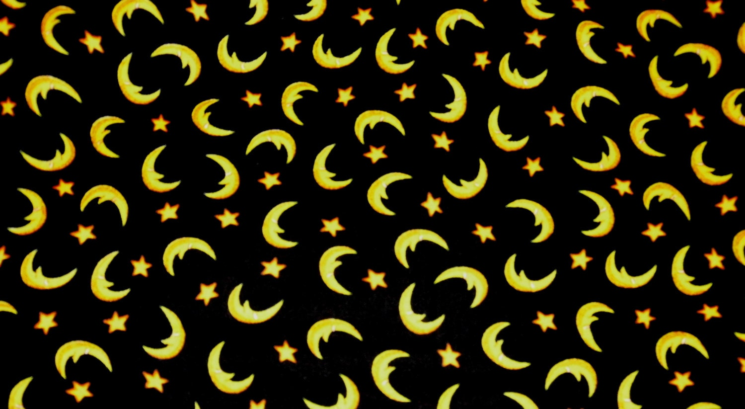 Moon Fabric - Black Fabric - Black And Yellow - Moon - Star Fabric ...