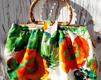 Vintage 1970's Hand Bag - Orange Poppies with Bamboo Handles