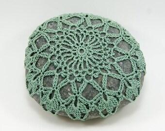 Crochet stone, beach rock, flower, beach wedding, ring bearer pillow, tabletop decor, home decor, sage green, bowl element, mothers day