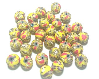 20 Fimo Polymer Clay Round Beads yellow white flowers 12mm