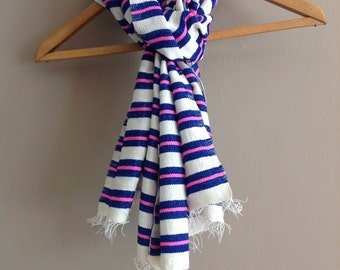 Electric Blue and neon pink stripe wool scarf- mens scarf wool- women scarves wool- woven Ethiopian  scarves and wraps-Blue pink creme scarf