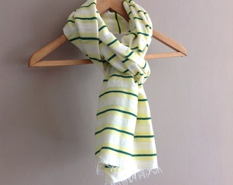 Yellow and Green striped Wool scarf for Men and women-